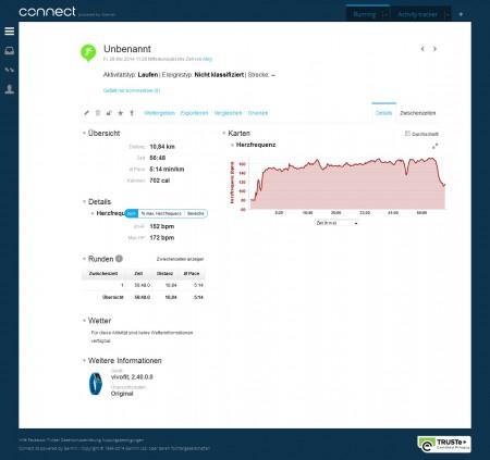 Garmin Connect - vivofit Aufzeichnung