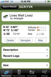 Geocaching auf dem iPhone