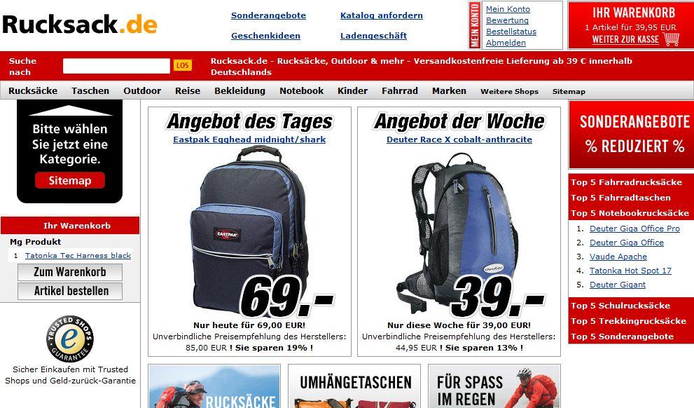 Einkauf bei Rucksack.de